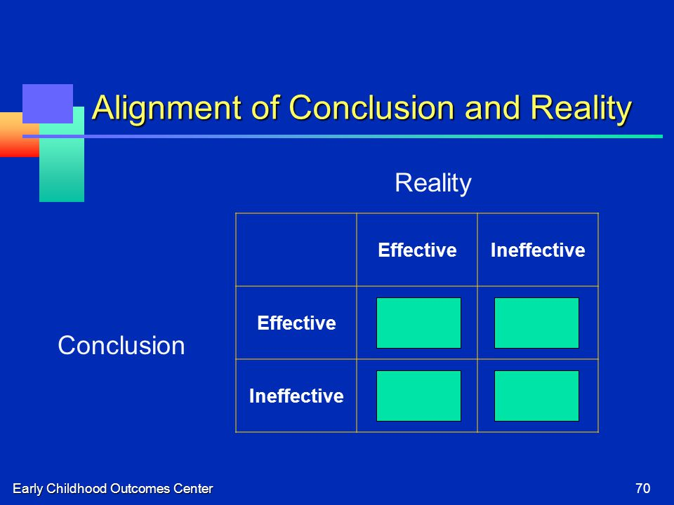 Early Childhood Outcomes Center70 Alignment of Conclusion and Reality EffectiveIneffective EffectiveCorrect.