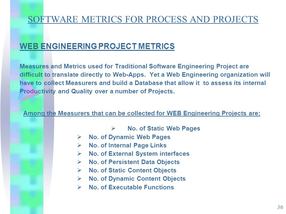 36 SOFTWARE METRICS FOR PROCESS AND PROJECTS WEB ENGINEERING PROJECT METRICS Measures and Metrics used for Traditional Software Engineering Project ar