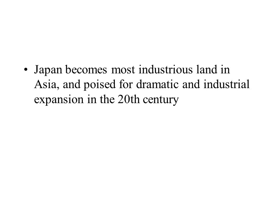 End of Tokugawa rule, Mutsuhito (Boy Emperor) rules from 1852-1912, most eventful time in Japanese history Reforms the Meiji Restoration period wanted to avoid the spheres of influence and foreign economic dominance that was occuring in China