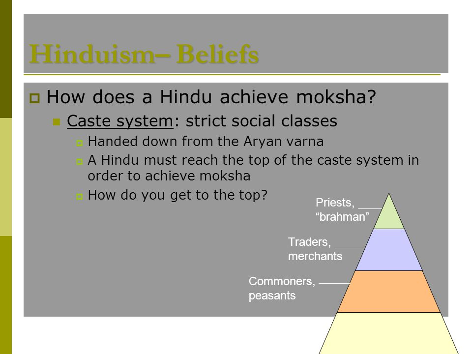  How does a Hindu achieve moksha? Caste system: strict social classes  Handed down from the Aryan varna  A Hindu must reach the top of the caste sy