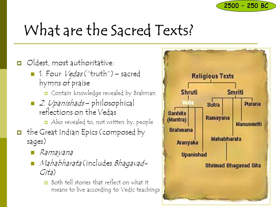 """What are the Sacred Texts?  Oldest, most authoritative: 1. Four Vedas (""""truth"""") – sacred hymns of praise  Contain knowledge revealed by Brahman 2. U"""