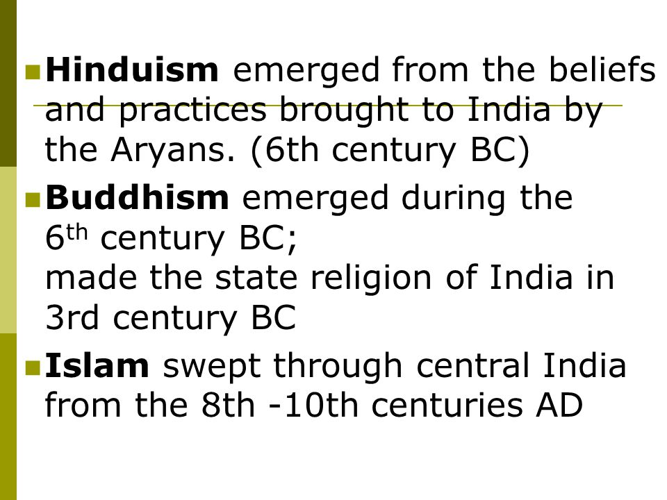 Jainism  Based on Hinduism  3 Jewels– Right Faith, Right Knowledge and Right Conduct  Mahivira was the founder  Emphasized Ahimsa (non-violence) Strict vegetarians Swept ground to avoid killing  Reincarnation  Objective– Rid jiva (soul) of all Kharma  Gods do not help (religion of self-help)