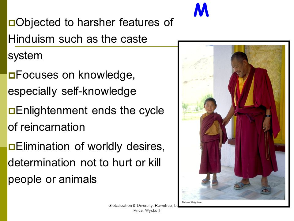 Globalization & Diversity: Rowntree, Lewis, Price, Wyckoff 65 BUDDHIS M  Objected to harsher features of Hinduism such as the caste system  Focuses