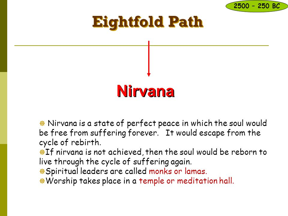Eightfold Path Nirvana  Nirvana is a state of perfect peace in which the soul would be free from suffering forever. It would escape from the cycle of