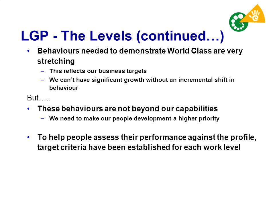 LGP - The Levels (continued…) Behaviours needed to demonstrate World Class are very stretching –This reflects our business targets –We can't have sign