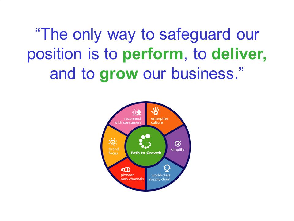 """""""The only way to safeguard our position is to perform, to deliver, and to grow our business."""""""