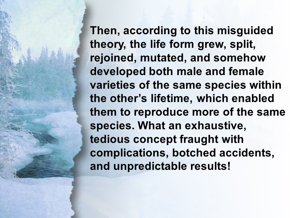 I. One Great Designer Then, according to this misguided theory, the life form grew, split, rejoined, mutated, and somehow developed both male and fema