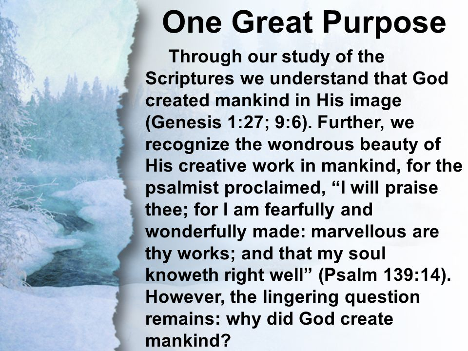 III. One Great Purpose One Great Purpose Through our study of the Scriptures we understand that God created mankind in His image (Genesis 1:27; 9:6).