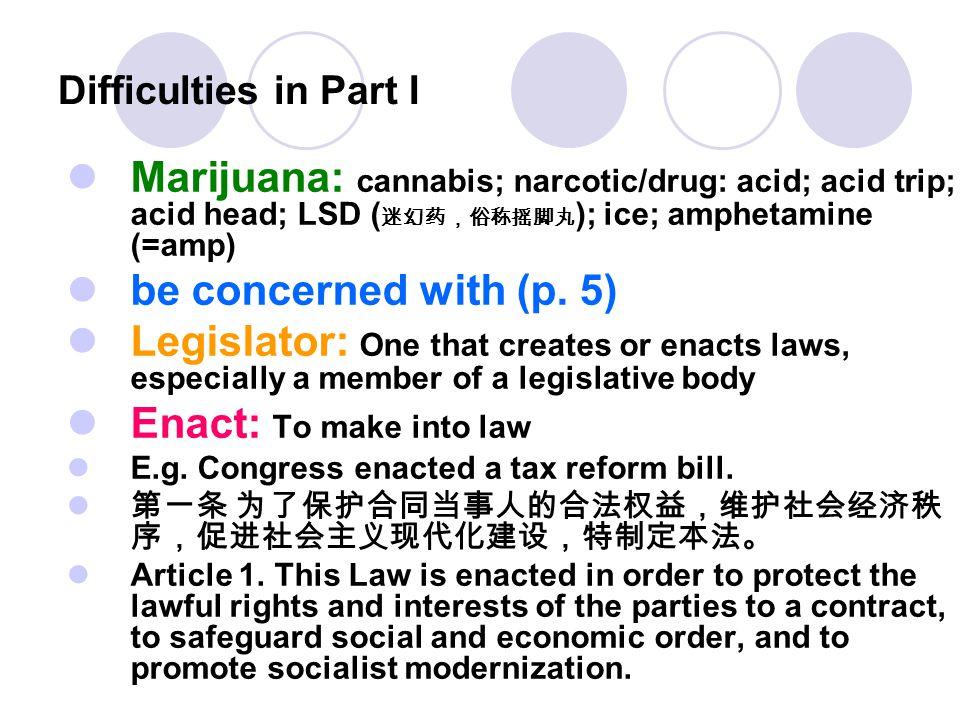Difficulties in Part I Marijuana: cannabis; narcotic/drug: acid; acid trip; acid head; LSD ( 迷幻药,俗称摇脚丸 ); ice; amphetamine (=amp) be concerned with (p
