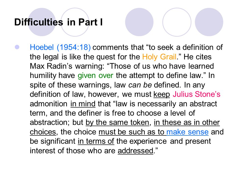 """Difficulties in Part I Hoebel (1954:18) comments that """"to seek a definition of the legal is like the quest for the Holy Grail."""" He cites Max Radin's w"""