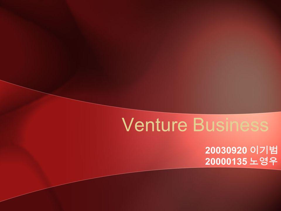 Venture Business 20030920 이기범 20000135 노영우