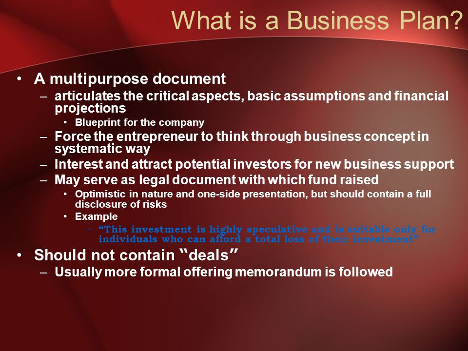 What is a Business Plan.