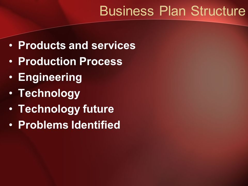 Business Plan Structure Products and services Production Process Engineering Technology Technology future Problems Identified