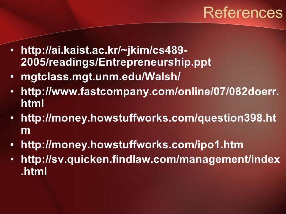 References http://ai.kaist.ac.kr/~jkim/cs489- 2005/readings/Entrepreneurship.ppt mgtclass.mgt.unm.edu/Walsh/ http://www.fastcompany.com/online/07/082doerr.
