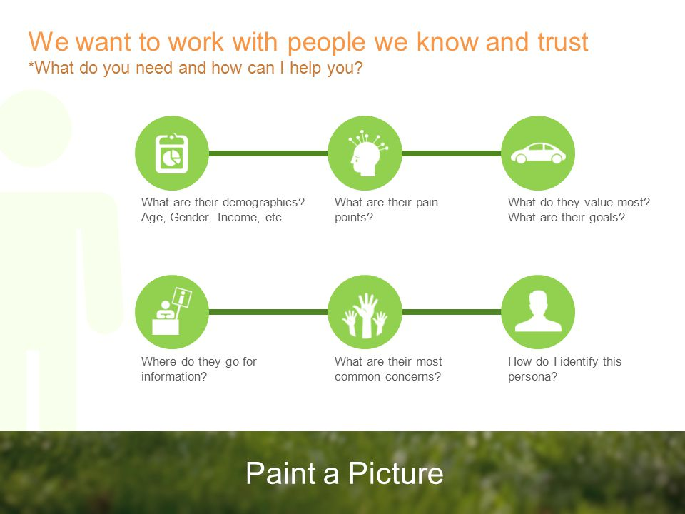 Paint a Picture We want to work with people we know and trust *What do you need and how can I help you.