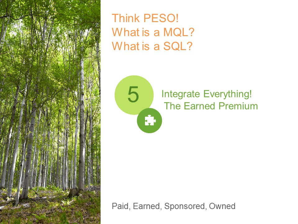 Think PESO. What is a MQL. What is a SQL. Integrate Everything.
