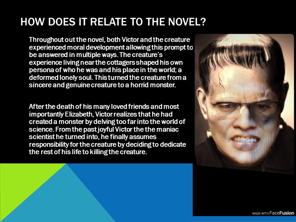 HOW DOES IT RELATE TO THE NOVEL? Throughout out the novel, both Victor and the creature experienced moral development allowing this prompt to be answe