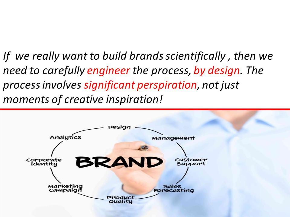 If we really want to build brands scientifically, then we need to carefully engineer the process, by design.
