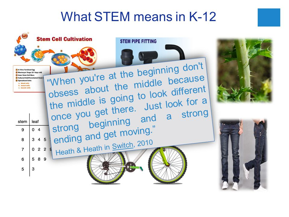 What STEM means in K-12 When you re at the beginning don t obsess about the middle because the middle is going to look different once you get there.