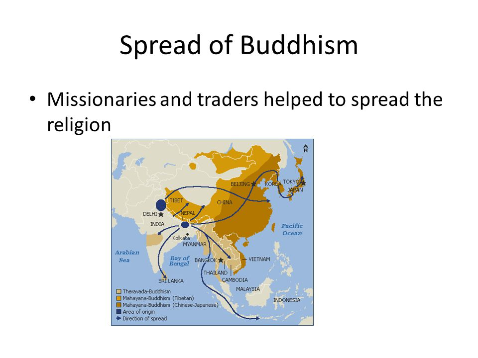 Spread of Buddhism Missionaries and traders helped to spread the religion