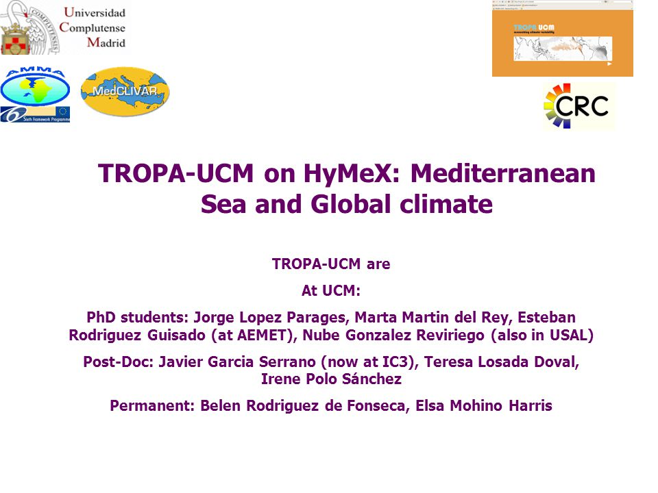 TROPA TROPical Atlantic group http:/tropa.fis.ucm.es