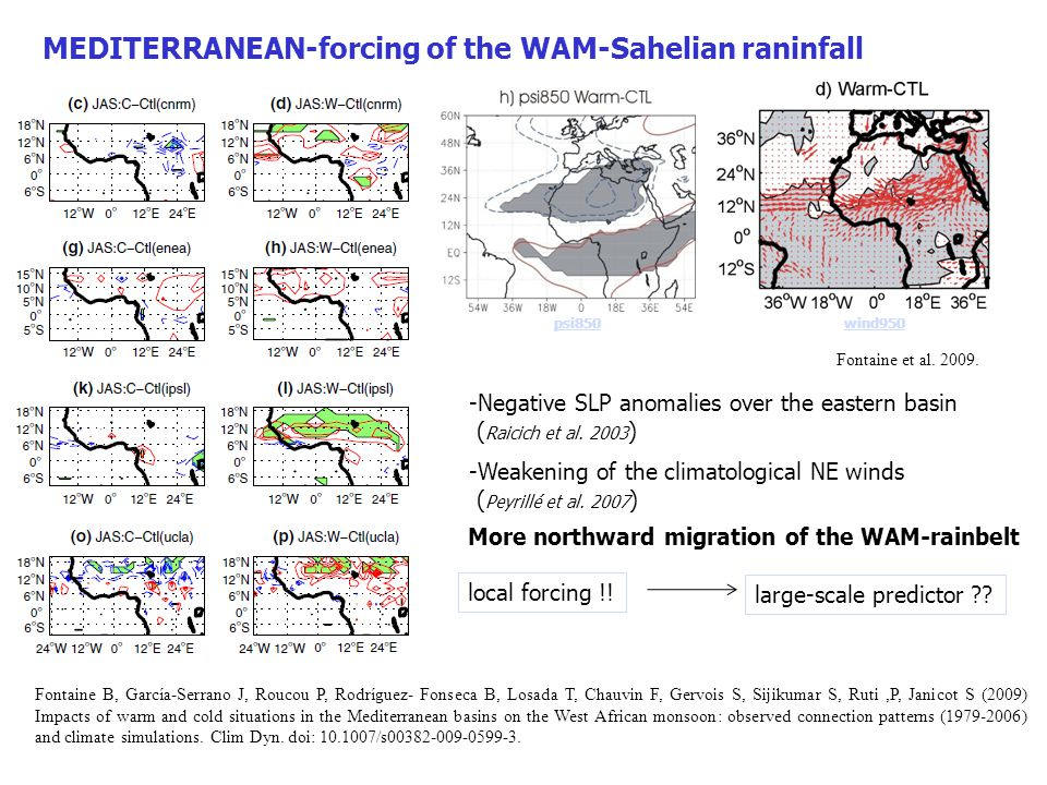 SST thermal forcing MED ChinaN.Pacf N.AmerN.Atl geopotential z- lon profile baroclinic structure over the MED basin quasi-barotropic structure anywhere in the lat band Z200 U200-climatology circumglobal propagation-pattern waveguiding effect of the NAA jet García-Serrano J, Polo I., Rodríguez- Fonseca B, Losada T (submitted): Large- Scale Atmospheric Response to Eastern Mediterranean Summer SST Anomalies.