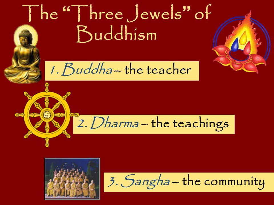 "The "" Three Jewels "" of Buddhism 1. Buddha – the teacher 2. Dharma – the teachings 3. Sangha – the community"