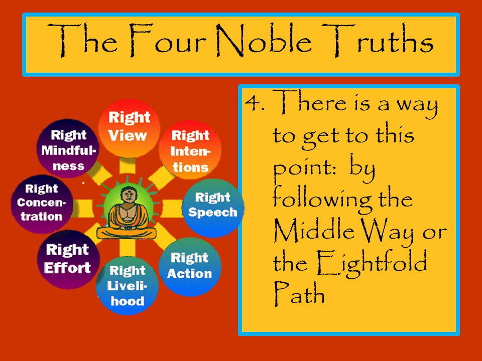 The Four Noble Truths 4.There is a way to get to this point: by following the Middle Way or the Eightfold Path