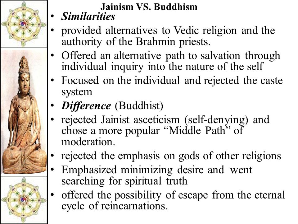 Jainism VS. Buddhism Similarities provided alternatives to Vedic religion and the authority of the Brahmin priests. Offered an alternative path to sal