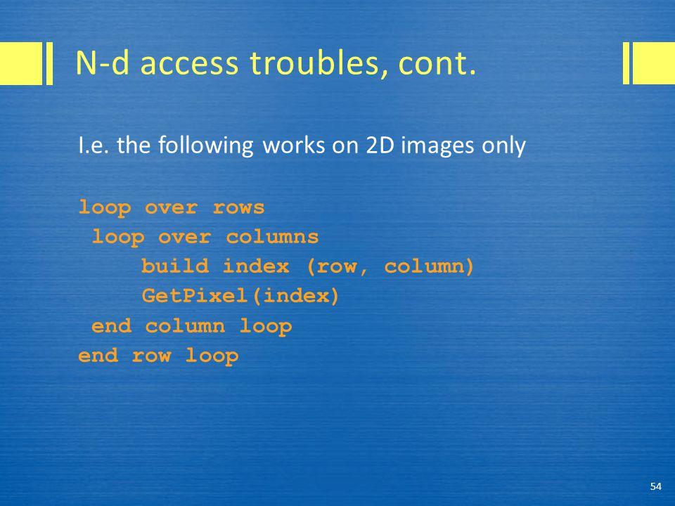 N-d access troubles, cont. I.e.