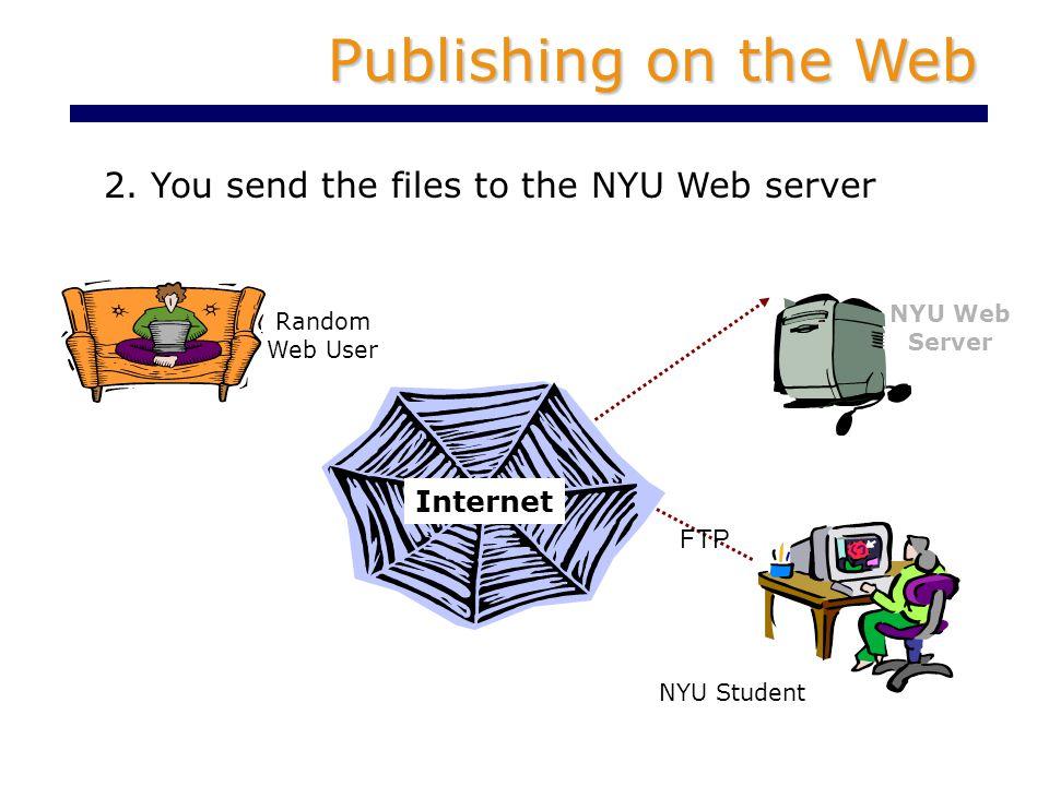 2. You send the files to the NYU Web server Publishing on the Web NYU Web Server Internet Random Web User FTP NYU Student