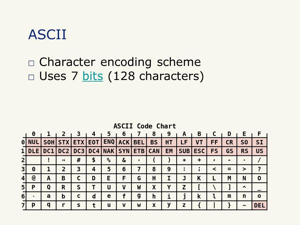 □ Character encoding scheme □ Uses 7 bits (128 characters)bits ASCII