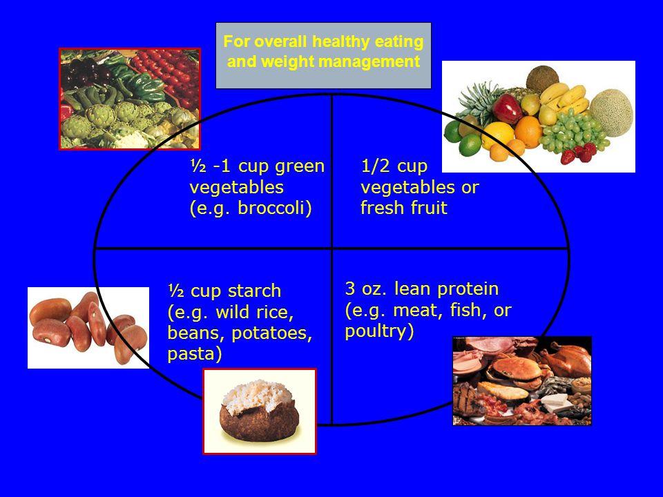 ½ -1 cup green vegetables (e.g. broccoli) 3 oz. lean protein (e.g.