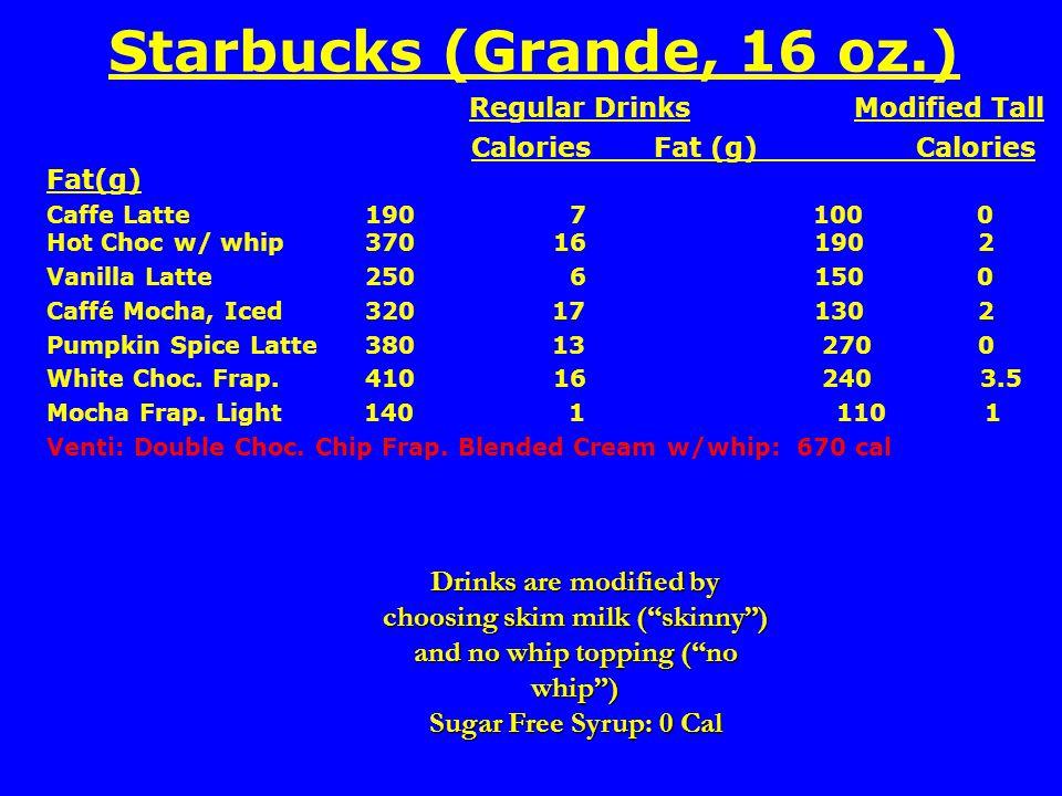 Starbucks (Grande, 16 oz.) Regular Drinks Modified Tall Calories Fat (g) Calories Fat(g) Caffe Latte190 7 100 0 Hot Choc w/ whip370 16 190 2 Vanilla Latte 250 6 150 0 Caffé Mocha, Iced320 17 130 2 Pumpkin Spice Latte380 13 270 0 White Choc.