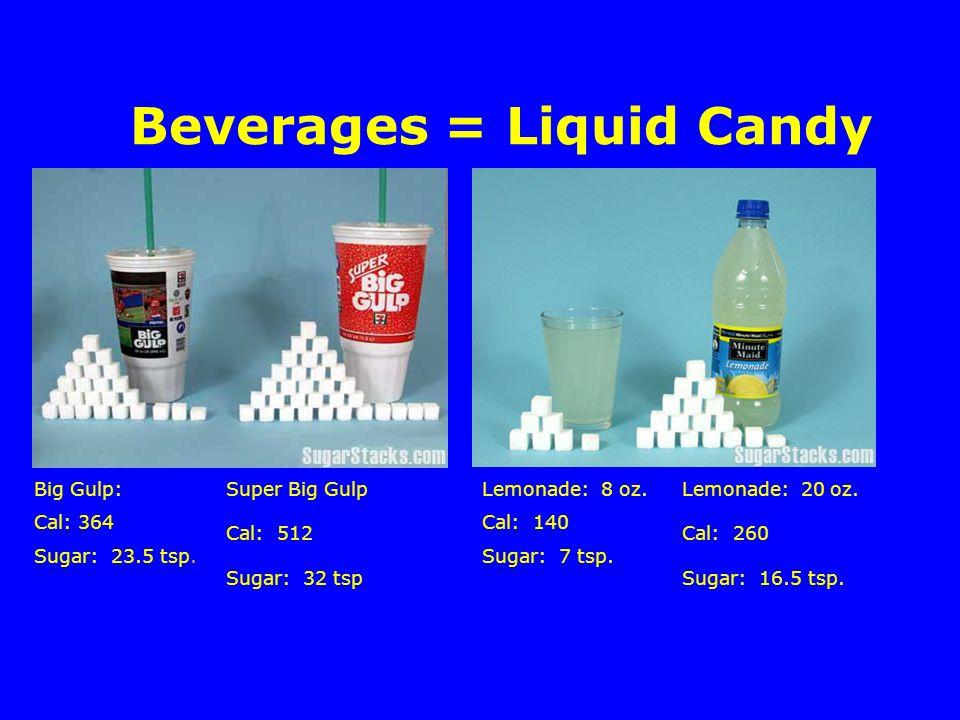 Beverages = Liquid Candy Big Gulp: Cal: 364 Sugar: 23.5 tsp.