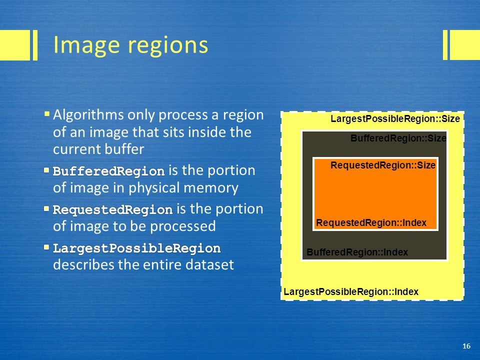 Image regions 16 LargestPossibleRegion::Index BufferedRegion::Index RequestedRegion::Index RequestedRegion::Size BufferedRegion::Size LargestPossibleR