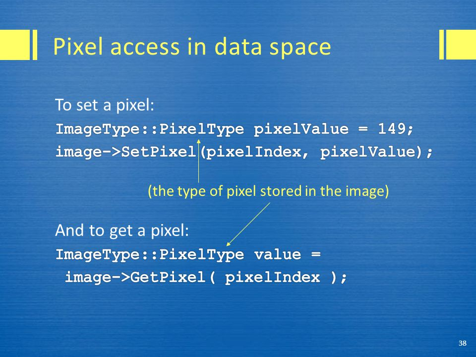 Pixel access in data space 38 (the type of pixel stored in the image)