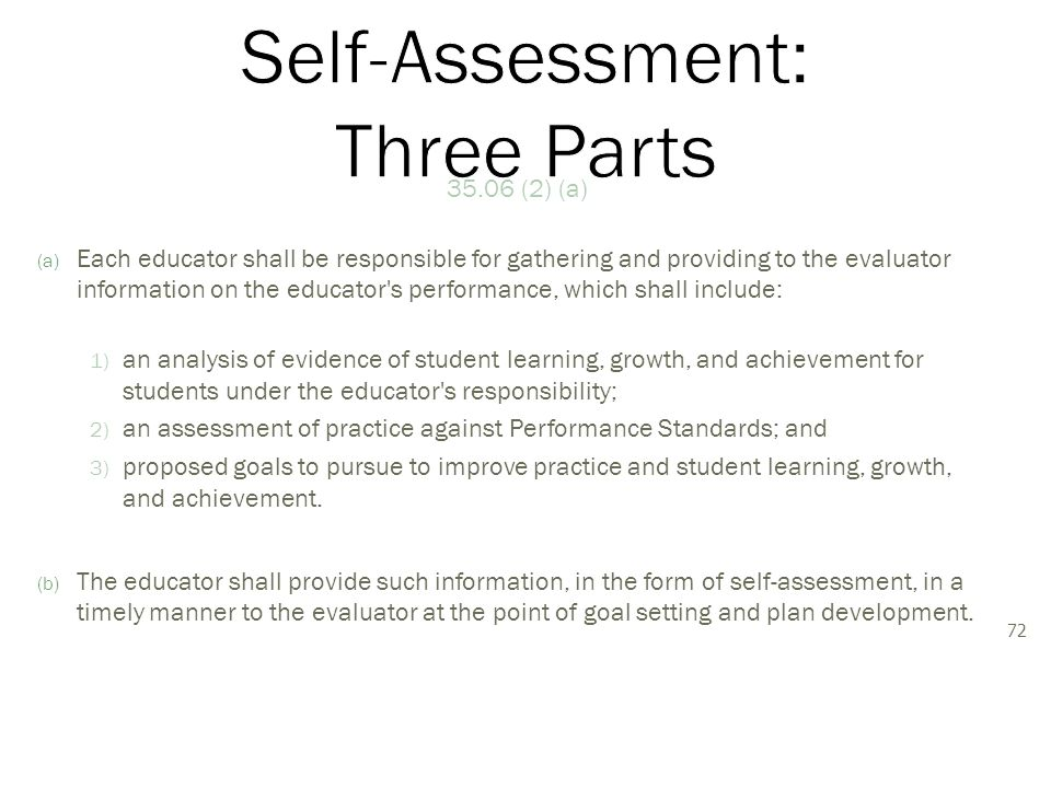 35.06 (2) (a) (a) Each educator shall be responsible for gathering and providing to the evaluator information on the educator s performance, which shall include: 1) an analysis of evidence of student learning, growth, and achievement for students under the educator s responsibility; 2) an assessment of practice against Performance Standards; and 3) proposed goals to pursue to improve practice and student learning, growth, and achievement.