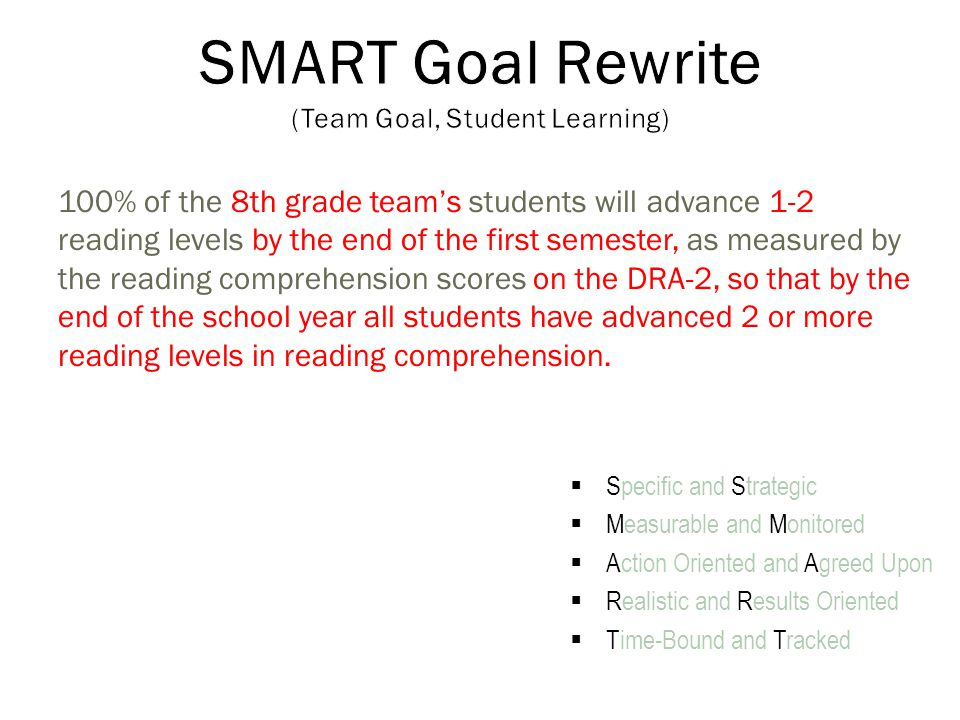 100% of the 8th grade team's students will advance 1-2 reading levels by the end of the first semester, as measured by the reading comprehension scores on the DRA-2, so that by the end of the school year all students have advanced 2 or more reading levels in reading comprehension.