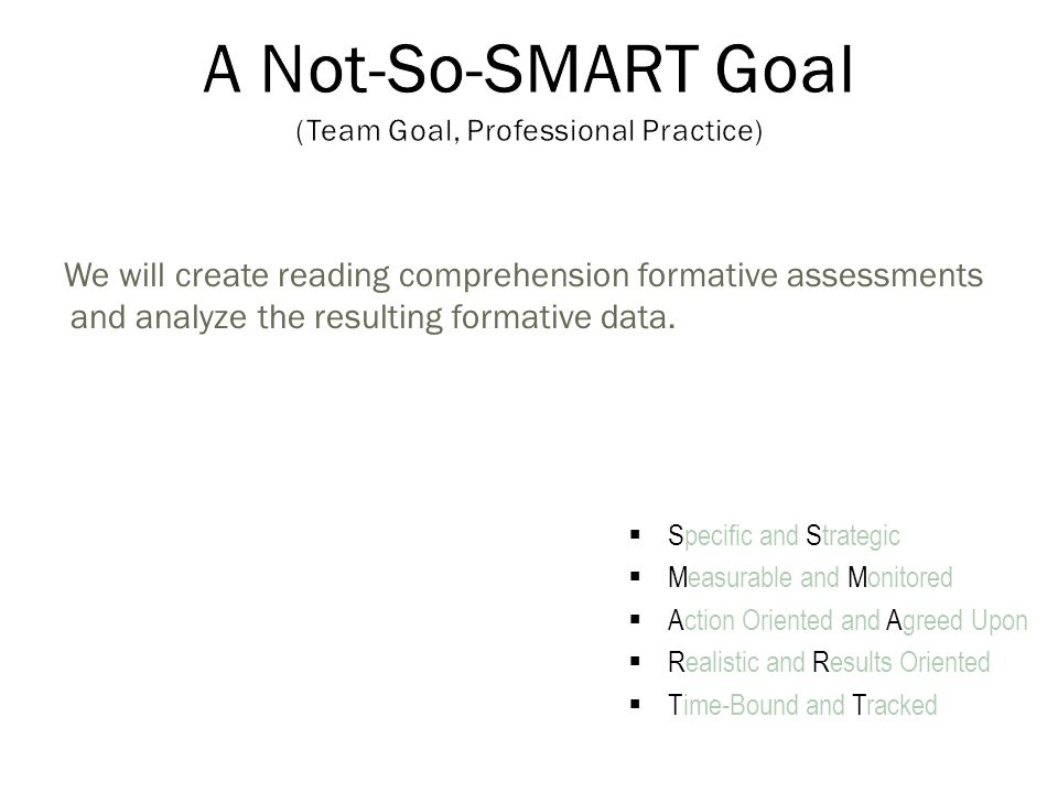 We will create reading comprehension formative assessments and analyze the resulting formative data.