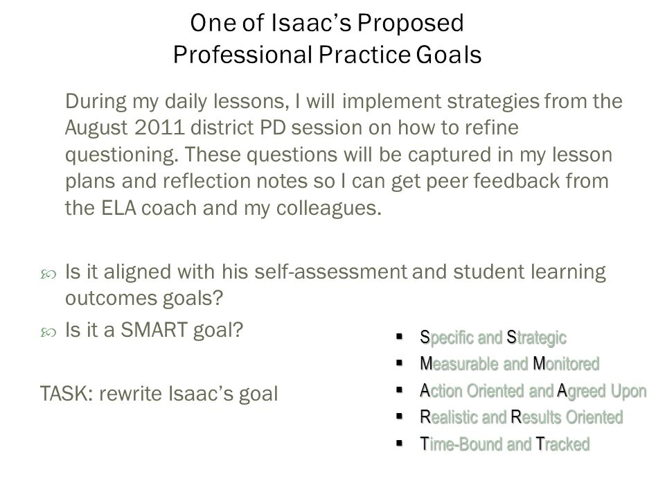 During my daily lessons, I will implement strategies from the August 2011 district PD session on how to refine questioning.