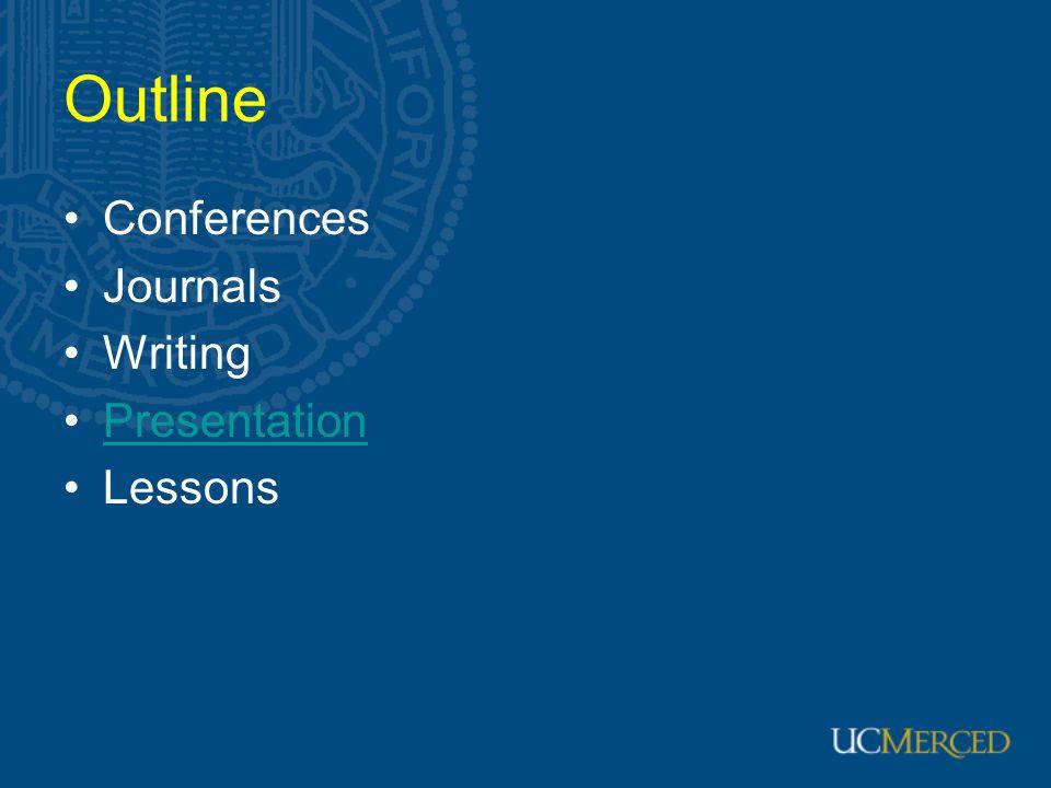 Outline Conferences Journals Writing Presentation Lessons