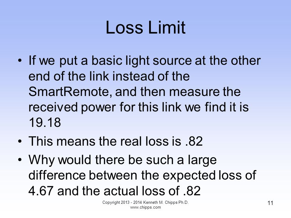 Loss Limit If we put a basic light source at the other end of the link instead of the SmartRemote, and then measure the received power for this link we find it is 19.18 This means the real loss is.82 Why would there be such a large difference between the expected loss of 4.67 and the actual loss of.82 Copyright 2013 - 2014 Kenneth M.