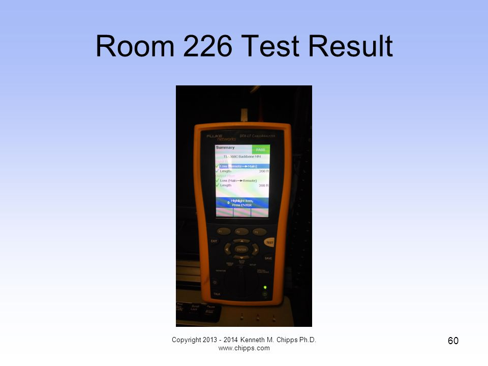 Room 226 Test Result Copyright 2013 - 2014 Kenneth M. Chipps Ph.D. www.chipps.com 60