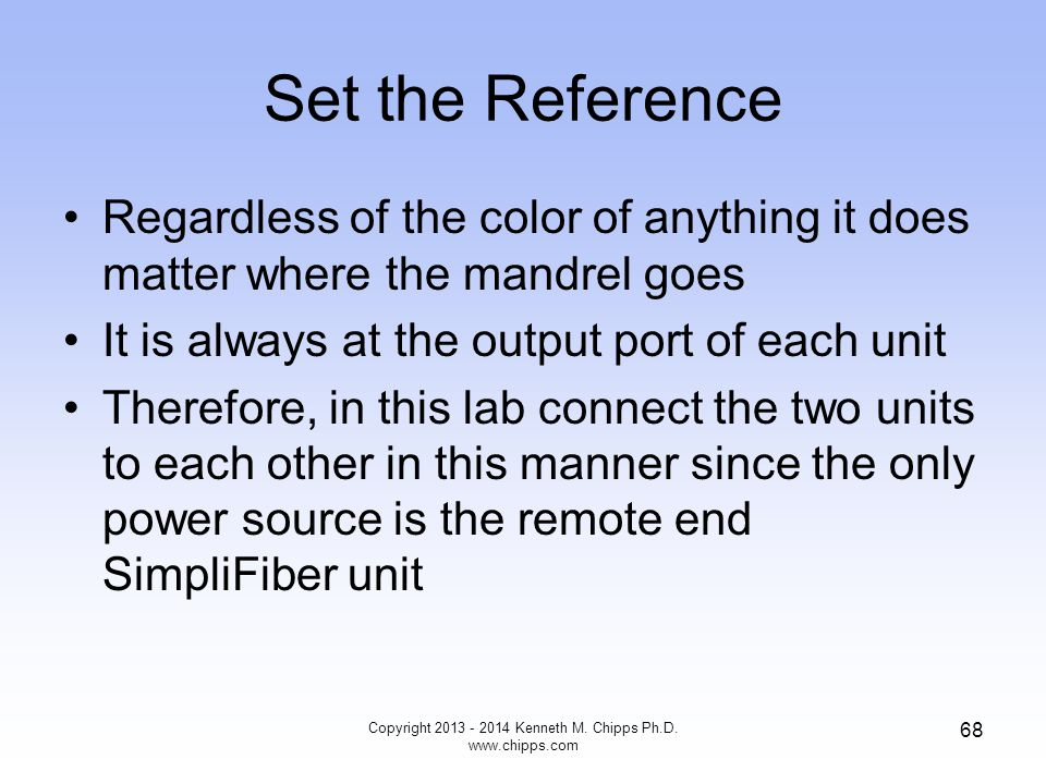 Set the Reference Regardless of the color of anything it does matter where the mandrel goes It is always at the output port of each unit Therefore, in this lab connect the two units to each other in this manner since the only power source is the remote end SimpliFiber unit Copyright 2013 - 2014 Kenneth M.