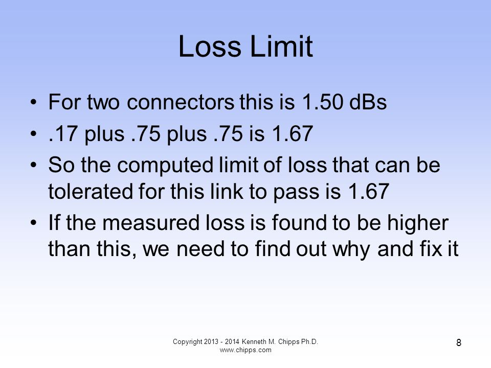 So What The next question you should be asking yourself is - is this amount of received power good, bad, or what Further, just how sloppy can I really be in the installation Just how much loss can I measure without it causing a problem Copyright 2013 - 2014 Kenneth M.