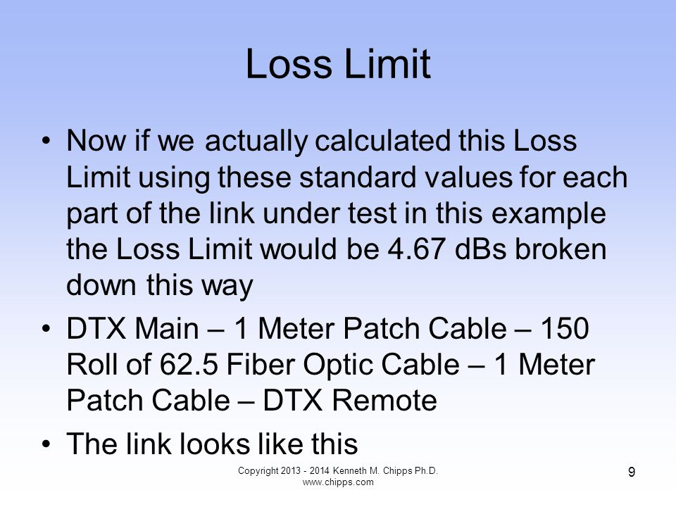 So What Cisco says in one document that a 1micrometer dust particle on a single- mode core can block up to 1% of the light based on 0.05 dB of loss Fluke in a BICSI presentation says the EPA says that typical dust particles in the office are from 2 to 10 microns in size Copyright 2013 - 2014 Kenneth M.