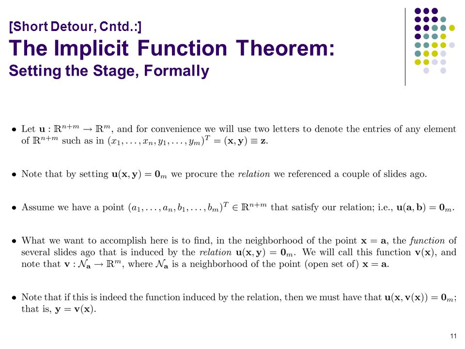 [Short Detour, Cntd.:] The Implicit Function Theorem: Setting the Stage, Formally 11