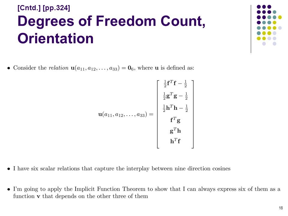 [Cntd.] [pp.324] Degrees of Freedom Count, Orientation 18