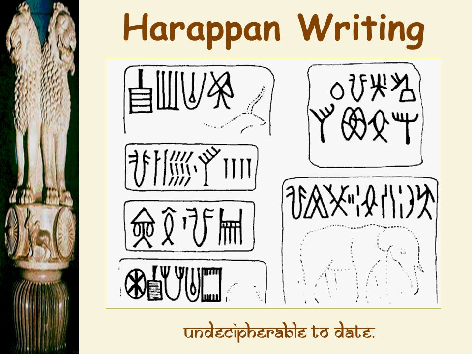 Harappan Writing Undecipherable to date.
